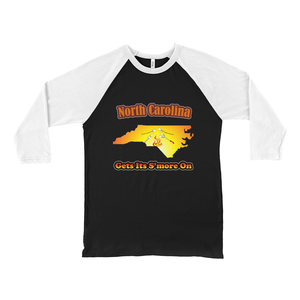 North Carolina Gets Its S'more On! Novelty Baseball Tee (3/4 sleeves) - CampWildRide.com