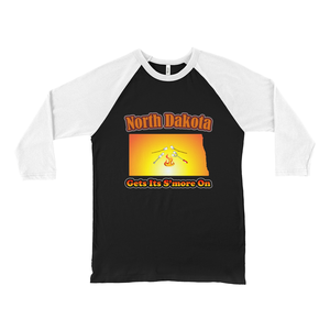 North Dakota Gets Its S'more On! Novelty Baseball Tee (3/4 sleeves) - CampWildRide.com
