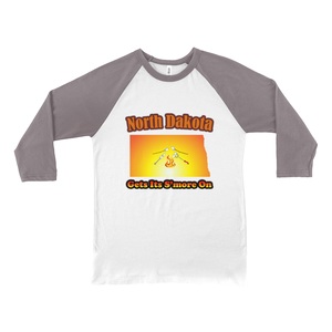 North Dakota Gets Its S'more On! Novelty Baseball Tee (3/4 sleeves)