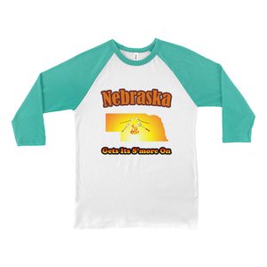 Nebraska Gets Its S'more On! Novelty Baseball Tee (3/4 sleeves) - CampWildRide.com
