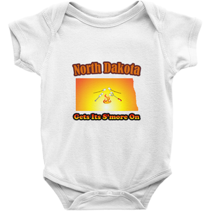 North Dakota Gets Its S'more On! Novelty Infant One-Piece Baby Bodysuit - CampWildRide.com