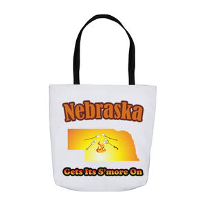 Nebraska Gets Its S'more On! Novelty Funny Tote Bag Reusable