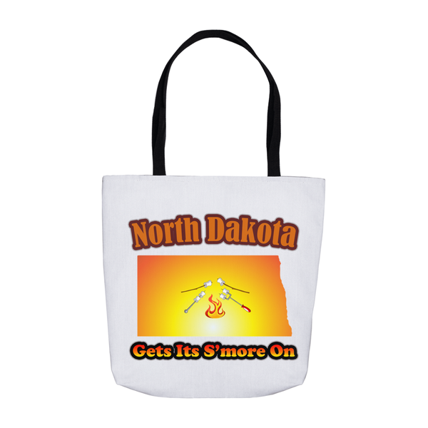 North Dakota Gets Its S'more On! Novelty Funny Tote Bag Reusable