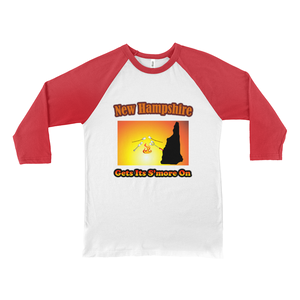 New Hampshire Gets Its S'more On! Novelty Baseball Tee (3/4 sleeves)