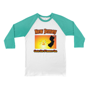 New Jersey Gets Its S'more On! Novelty Baseball Tee (3/4 sleeves) - CampWildRide.com