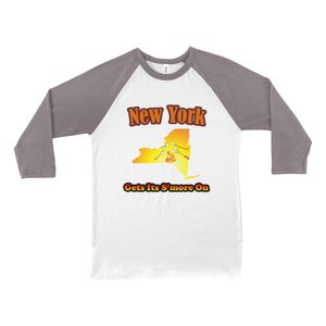 New York Gets Its S'more On! Novelty Baseball Tee (3/4 sleeves)