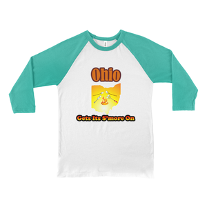 Ohio Gets Its S'more On! Novelty Baseball Tee (3/4 sleeves) - CampWildRide.com