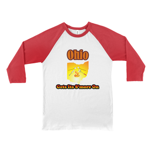 Ohio Gets Its S'more On! Novelty Baseball Tee (3/4 sleeves)