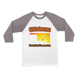 Oklahoma Gets Its S'more On! Novelty Baseball Tee (3/4 sleeves) - CampWildRide.com