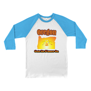 Oregon Gets Its S'more On! Novelty Baseball Tee (3/4 sleeves) - CampWildRide.com