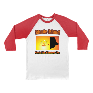 Rhode Island Gets Its S'more On! Novelty Baseball Tee (3/4 sleeves) - CampWildRide.com