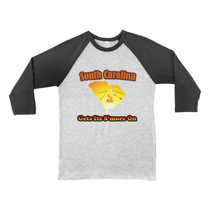 South Carolina Gets Its S'more On! Novelty Baseball Tee (3/4 sleeves)
