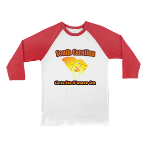 South Carolina Gets Its S'more On! Novelty Baseball Tee (3/4 sleeves) - CampWildRide.com