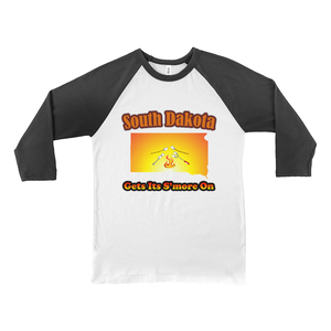 South Dakota Gets Its S'more On! Novelty Baseball Tee (3/4 sleeves)