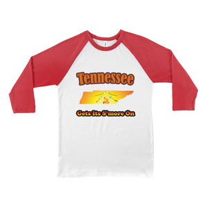 Tennessee Gets Its S'more On! Novelty Baseball Tee (3/4 sleeves)