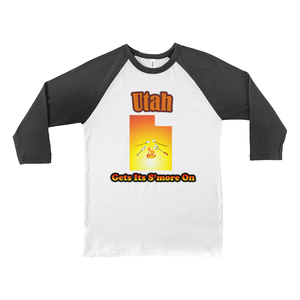 Utah Gets Its S'more On! Novelty Baseball Tee (3/4 sleeves) - CampWildRide.com