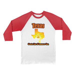 Texas Gets Its S'more On! Novelty Baseball Tee (3/4 sleeves) - CampWildRide.com