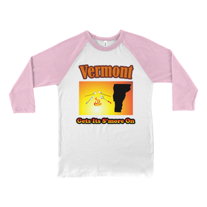 Vermont Gets Its S'more On! Novelty Baseball Tee (3/4 sleeves) - CampWildRide.com