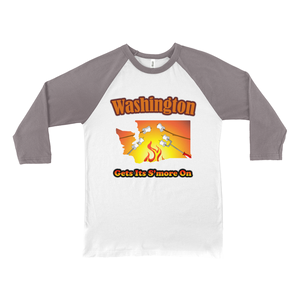Washington Gets Its S'more On! Novelty Baseball Tee (3/4 sleeves) - CampWildRide.com