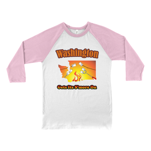 Washington Gets Its S'more On! Novelty Baseball Tee (3/4 sleeves)