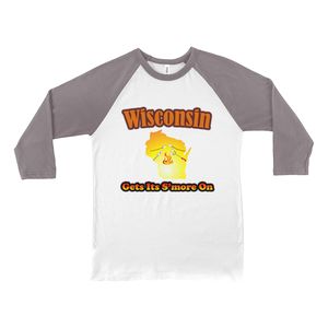 Wisconsin Gets Its S'more On! Novelty Baseball Tee (3/4 sleeves)