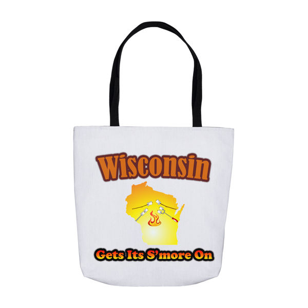 Wisconsin Gets Its S'more On! Novelty Funny Tote Bag Reusable