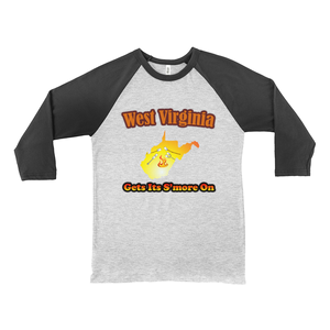 West Virginia Gets Its S'more On! Novelty Baseball Tee (3/4 sleeves)