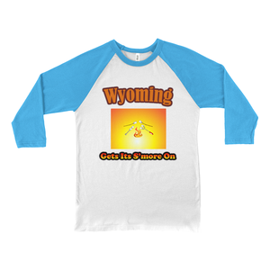 Wyoming Gets Its S'more On! Novelty Baseball Tee (3/4 sleeves) - CampWildRide.com
