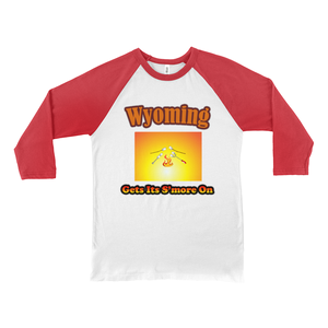 Wyoming Gets Its S'more On! Novelty Baseball Tee (3/4 sleeves)