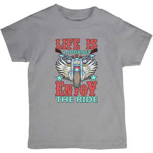 Life is a Journey, Enjoy the Ride, Fun on a Hog! Novelty Short Sleeve Youth T-Shirt - CampWildRide.com