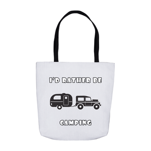 I'd Rather Be Camping-Live it in a RV! Novelty Funny Tote Bag Reusable - CampWildRide.com
