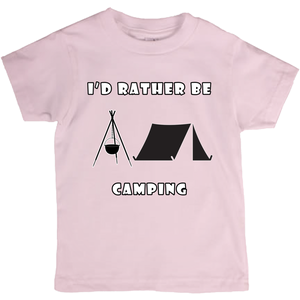I'd Rather Be Camping-Live it in a Tent! Novelty Short Sleeve Youth T-Shirt