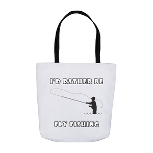 I'd Rather Be Fly Fishing! Novelty Funny Tote Bag Reusable - CampWildRide.com