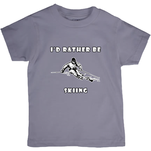 I'd Rather Be Skiing Powder! Novelty Short Sleeve Youth T-Shirt