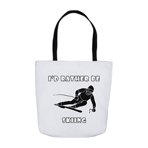 I'd Rather Be Skiing! Novelty Funny Tote Bag Reusable - CampWildRide.com