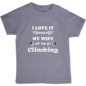 Wife Lets Me Go Climbing! Novelty Short Sleeve Youth T-Shirt - CampWildRide.com