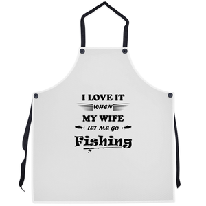 Wife Lets Me Go Fishing! Novelty Funny Apron - CampWildRide.com