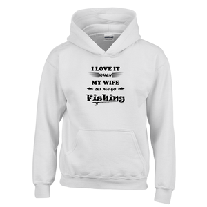 Wife Lets Me Go Fishing! Novelty Youth Hoodies (No-Zip/Pullover) - CampWildRide.com