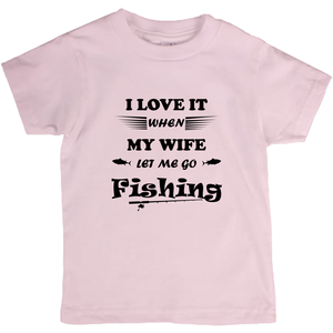 Wife Lets Me Go Fishing! Novelty Short Sleeve Youth T-Shirt