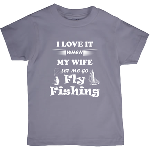Wife Lets Me Go Fly Fishing! Novelty Short Sleeve Youth T-Shirt - CampWildRide.com