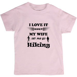 Wife Lets Me Go Hiking! Novelty Short Sleeve Youth T-Shirt - CampWildRide.com