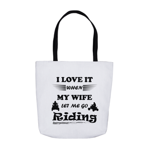 Wife Lets Me Ride My ATV! Novelty Funny Tote Bag Reusable - CampWildRide.com