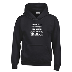 Wife Lets Me Go Skiing! Novelty Youth Hoodies (No-Zip/Pullover) - CampWildRide.com
