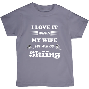 Wife Lets Me Go Skiing! Novelty Short Sleeve Youth T-Shirt - CampWildRide.com
