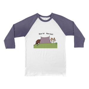 Bear In! Bare Out! Novelty Baseball Tee (3/4 sleeves) - CampWildRide.com