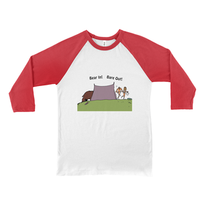 Bear In! Bare Out! Novelty Baseball Tee (3/4 sleeves)