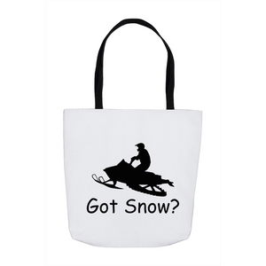 Got Snow? Escape on a Snowmobile! Novelty Funny Tote Bag Reusable - CampWildRide.com