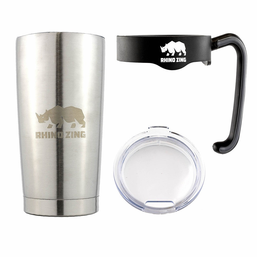 20 Oz Tumbler w/Handle Stainless Steel Travel Insulated Coffee Mug Non-Slide Lid - CampWildRide.com