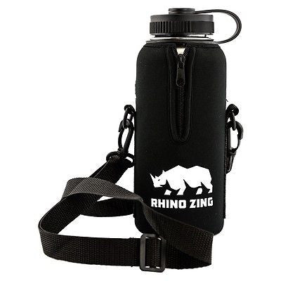 32 Oz Growler Stainless Steel Water Bottle w/Sleeve and Wide Mouth Standard Lid - CampWildRide.com