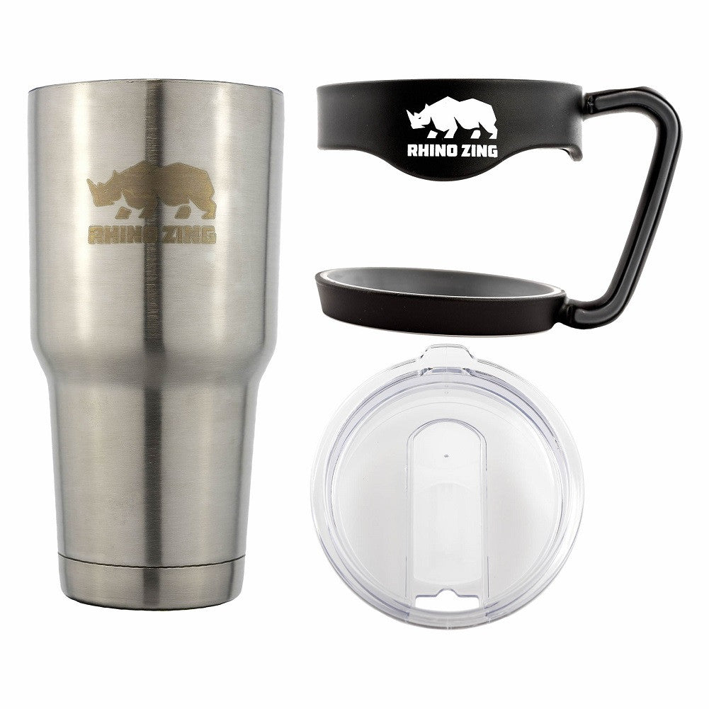 30 Oz Tumbler w/Handle Stainless Steel Travel Insulated Coffee Mug with Slide Lid - CampWildRide.com